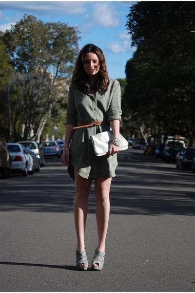 white urban originals bag - gray Forever 21 boots - green Zara dress