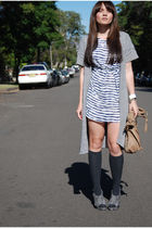 gray Witchery cardigan - white portmans dress - gray Forever 21 shoes