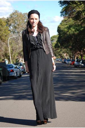black fleur wood dress - black Zara shoes - brown Dotti jacket