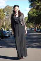 black fleur wood dress - black Zara shoes - brown Dotti jacket