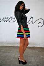 black leather jacket black jacket - chartreuse mini skirt Green skirt