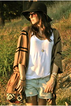 cape Camel cape - boots black boots - hat black hat - shirt white shirt