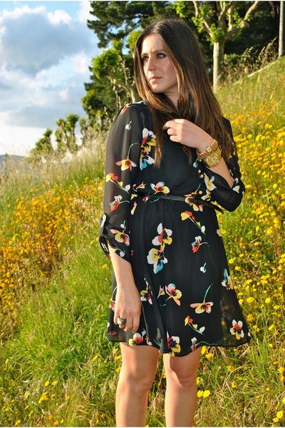 black floral dress black dress - gold watch gold watch