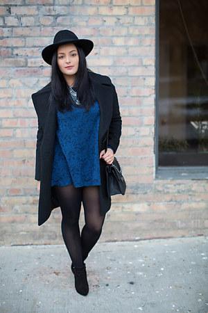 Forever 21 boots - Forever 21 dress - Forever 21 coat - H&M hat - Forever 21 bag
