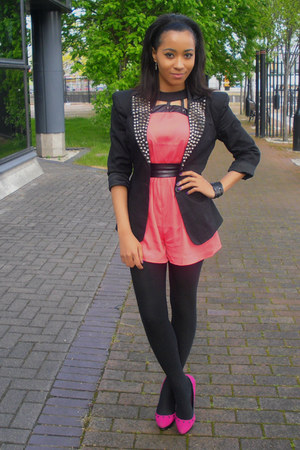 black new look blazer - coral Miss Selfridge bodysuit