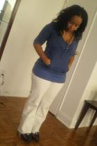 white jeans - shirt - Nike Air Maax shoes