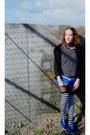 Blue-unknown-shoes-blue-bershka-dress-black-zara-jacket-white-zara-shirt