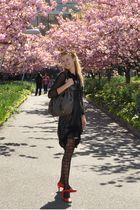 black Cop Copine dress - red Prada shoes - gray Prada purse - silver Lucid New Y