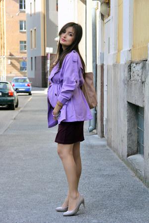 light purple PERSUNMALL coat - crimson H&M dress - light pink Mango bag