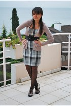 pink Zara cardigan - Zara dress - black shoes - H&M tights - black belt