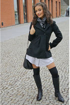 black lindex stockings - Varese boots - gray H&M dress - black Nuna Lie coat