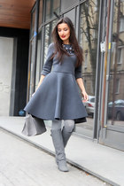 charcoal gray Desire dress - heather gray charles&keith boots