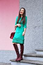 crimson dune boots - turquoise blue Waggon Paris dress