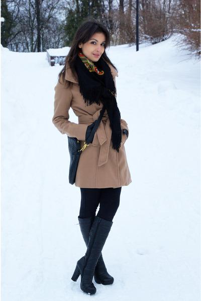 camel Tally Weijl coat - black Monton boots - vintage scarf