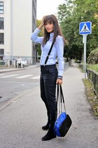 blue multicolored Charles & Keith bag - sky blue H&M shirt - navy lindex pants