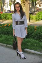 white H&M dress - brown belt - brown Tally Weijl shoes - brown Richmond purse -