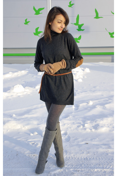 gray Zara dress - heather gray charles&keith boots - charcoal gray H&M tights