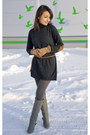 Heather-gray-charles-keith-boots-gray-zara-dress-charcoal-gray-h-m-tights