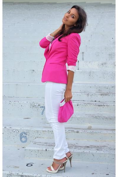 hot pink Zara blazer - white Mango jeans - hot pink Maybelline purse