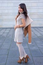 tawny Zara jacket - tawny Odeon boots - beige Amisu dress