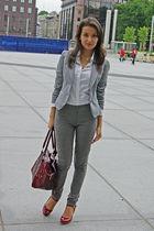 red shoes - gray skinny jeans - gray H&M blazer - white H&M shirt