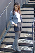 gray H&M shorts - heather gray charles&keith boots - heather gray H&M blazer