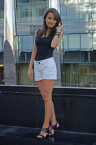 black Promod top - white Promod shorts - black Cara shoes