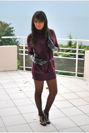 purple Promod dress - black shoes - black gloves - black Zara belt - black tight