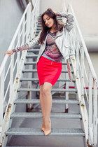 silver lindex jacket - red lindex skirt - tan tattoo print lindex top