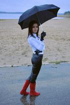 white H&M shirt - ruby red Metro boots - black lindex pants - black Esprit