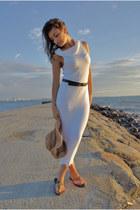 white handmade dress - camel H&M hat - dark brown Mango belt - dark brown flats