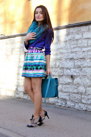 turquoise blue printed SwanShow skirt - teal knit Mohito scarf