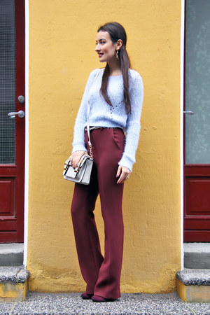 crimson Seppälä boots - sky blue H&M sweater - heather gray River Island bag