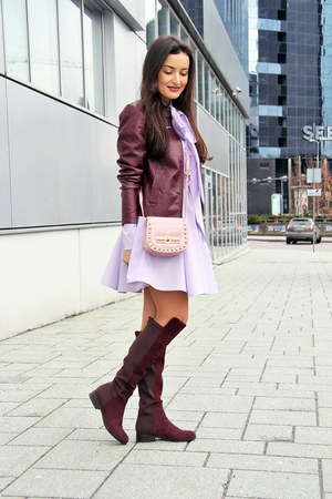 crimson Vero Moda boots - light purple Desire dress - crimson dune jacket
