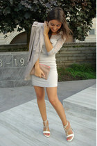 eggshell Vila blazer - eggshell tunic dress Amisu dress - neutral Zara purse