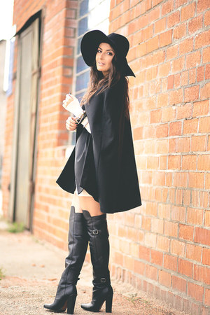 black H&M boots - black H&M hat - black H&M cape