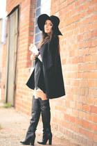 black H&M boots - black H&M hat - black H&M cape