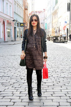 dark khaki H&M dress - black MORGAN jacket - light brown H&M earrings