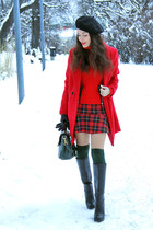 red Choies coat - black Charles & Keith boots - red lindex sweater