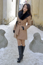 camel Tally Weijl coat - black charles&keith boots - black faux-fur pieces scarf