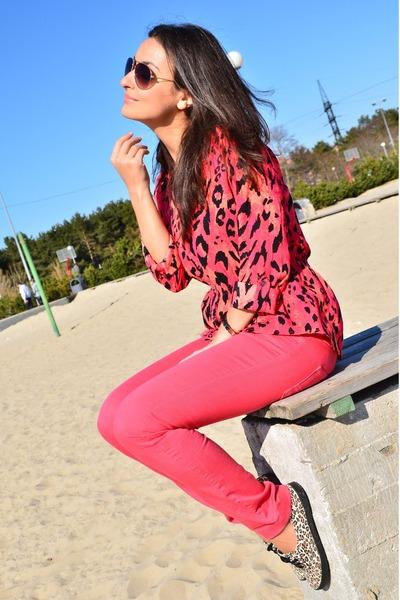 hot pink Mango jeans - hot pink leopard printed H&M shirt - leopard printed H&M