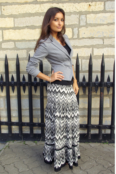 heather gray H&M blazer - dark gray maxi skirt Amisu skirt