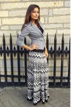 heather gray H&M blazer - dark gray maxi skirt Amisu skirt