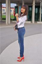 red red shoes Zara heels - blue denim jeans Zara jeans