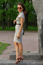 beige H&M dress - brown H&M glasses - brown Charles&ampKeith sandals