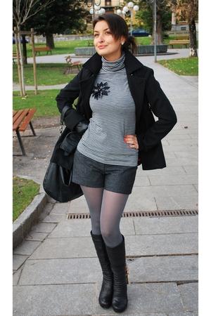 gray H&M blouse - gray H&M shorts - black Monton boots - Nunu Lie coat - silver