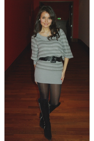 black belt - black Moda Donna boots - gray H&M dress