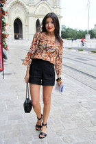 burnt orange printed Zara shirt - black Zara bag - black Zara shorts