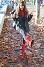 Red-metro-boots-red-promod-blouse-black-tally-weijl-dress-black-nuna-lie-c