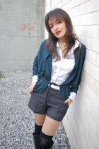 teal Zara cardigan - white H&M shirt - gray H&M shorts - black lindex belt